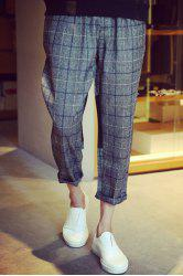 Loose Fit Narrow Feet Color Block Fabric Spliced Zipper Fly Men's Plaid Nine Minutes of Pants