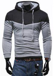 Personality Hem Color Lump Splicing Slimming Hooded Long Sleeves Men's Casual Hoodie - LIGHT GRAY
