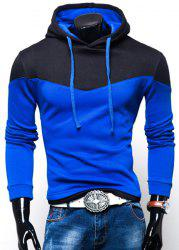 Color Block Panel Hooded Long Sleeves Hoodie