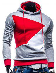 Irregular Color Lump Spliced Rib Hem Slimming Hooded Long Sleeves Men's Casual Hoodie - LIGHT GRAY