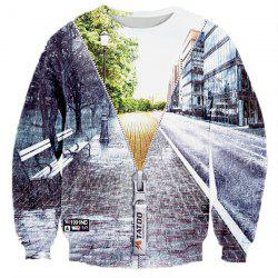 Hot Sale Round Neck Creative 3D Zipper Street Scenery Print Rib Hem Men's Long Sleeves Sweatshirt