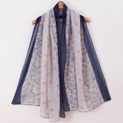 Chic Flower Printed Patchwork Voile Scarf For Women