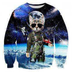 Creative Cat Sheriff into Space Pattern Rib Spliced Round Neck Long Sleeves Men's 3D Printed Sweatshirt