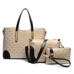 Trendy Colour Block and Embossing Design Women's Shoulder Bag - GOLDEN