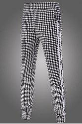 Casual Narrow Feet Color Block Houndstooth Print Stripes Spliced Men's Elastic Waist Jogger Pants