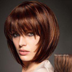 Graceful Short Capless Fashion Straight Bob Style Full Bang Real Human Hair Wig For Women -