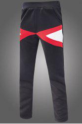 Slimming Narrow Feet Color Block Triangle Spliced Patch Pocket Elastic Waist Men's Sweatpants -