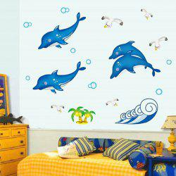 Stylish Simple Sweet DIY Cute Dolphin Pattern Home Decoration Decorative Wall Stickers -