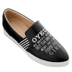 Point Toe Letter Print Slip On Sneakers - BLACK