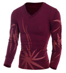 Vogue Slimming V-Neck Irregular Floral Pattern Color Block Long Sleeves Men's Knitted T-Shirt - PURPLISH RED