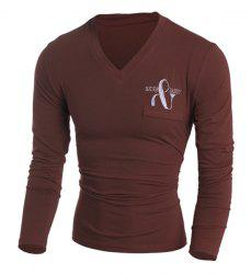 Fake Patch Pocket Letters Embroidered Solid Color V-Neck Long Sleeves Men's Slim Fit T-Shirt - BROWN