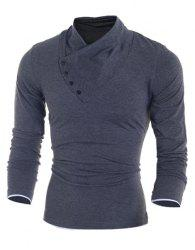 Inclined Single-Breasted Color Block Cuffs Slimming Heaps Collar Long Sleeves Men's T-Shirt - DEEP GRAY