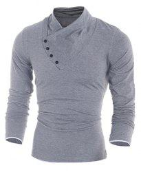 Inclined Single-Breasted Color Block Cuffs Slimming Heaps Collar Long Sleeves Men's T-Shirt - LIGHT GRAY L