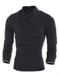 Inclined Single-Breasted Color Block Cuffs Slimming Heaps Collar Long Sleeves Men's T-Shirt -