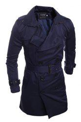 Personality Back Slit Elegant Belt Epaulet Design Slimming Turn-down Collar Long Sleeves Men's Peacoat -