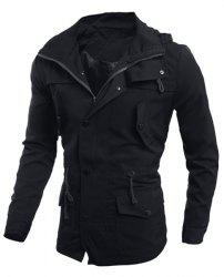 Drawstring Waist Multi-Button Patch Pocket Back Slit Hooded Long Sleeves Slimming Men's Safari Jacket - BLACK L