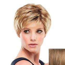 Stunning Inclined Bang Short Capless Fashion Fluffy Straight Real Human Hair Wig For Women -