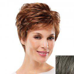 Assorted Color Ultrashort Elegant Side Bang Towheaded Curly Human Hair Wig For Women -