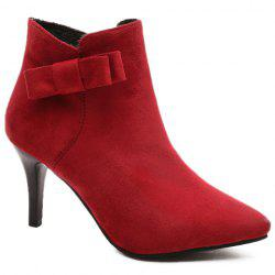 Bow Pointed Toe Ankle Boots - RED