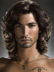 Shaggy Wavy Medium Capless Black Brown Fashion Heat Resistant Synthetic Middle Part Wig For Men -