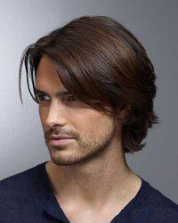Trendy Inclined Bang Short Capless Deep Brown Mixed High Temperature Fiber Natural Straight Wig For Men -