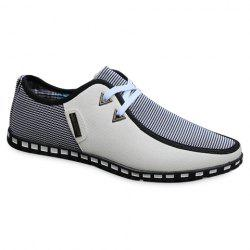 Stylish Color Block and Triangle Design Men's Casual Shoes - WHITE