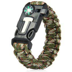 5 in 1 Outdoor Survival Gear Escape Paracord Bracelet Flint / Whistle / Compass / Scraper - CAMOUFLAGE COLOR