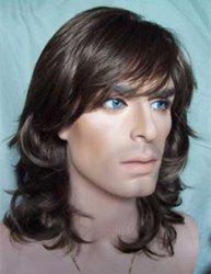 Trendy Black Brown Long Capless Side Bang Towheaded Wavy Heat Resistant Synthetic Wig For Men -