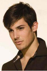 Handsome Inclined Bang Short Heat Resistant Synthetic Natural Black Capless Straight Men's Wig -
