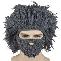 Faux Hair Knitted Beard Face Hat -