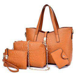 Stylish Crocodile Print and Metal Hasp Design Women's Shoulder Bag - BROWN