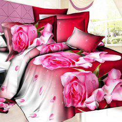 Sweet Fresh 3D Oil Painting Rosebud Pattern 4 Pcs Duvet Cover Sets ( Without Comforter ) -