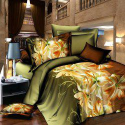 3D Activity Chic Lily Pattern Duvet Cover Full Size 4 Pcs Bedding Set (Without Comforter) -