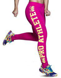 Active Color Block Letter Bodycon Sport Leggings For Women -