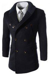 Knitted Lapel PU Leather Spliced Multi-Button Slimming Long Sleeves Men's Woolen Blend Thicken Peacoat -