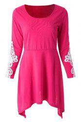 Casual Scoop Neck Long Sleeve Lace Splicing Loose Fitting Dress For Women