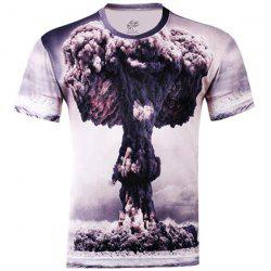 Stylish Slimming Round Neck 3D Mushroom Cloud Pattern Short Sleeve Cotton Blend T-Shirt For Men