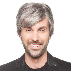 Shaggy Natural Straight Side Bang Trendy Short Capless Grey Heat Resistant Fiber Wig For Men -