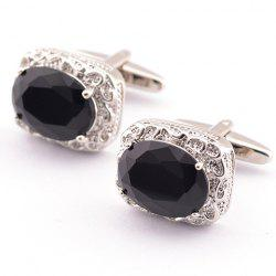 Pair of Stylish Black Faux Gem and Rhinestone Inlay Embellished Cufflinks For Men - BLACK