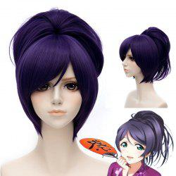 Stunning Straight Short Inclined Bang Purple Nozomi Tojo Costume Play Wig With Chignons -