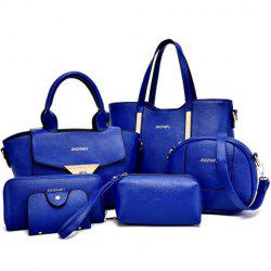 Letter Embellished Tote Handbag 6Pc Set - BLUE