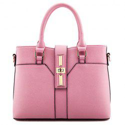 Office Lady Hasp and Solid Color Design Women's Tote Bag -