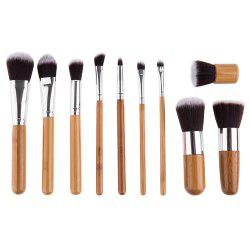11 Pcs Wool Makeup Brush Set with Pure Color Pouch