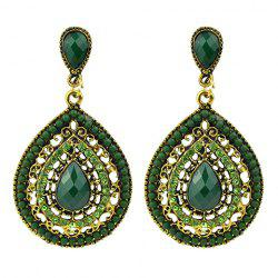 Faux Gem Teardrop Drop Earrings