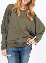 Stylish Batwing Sleeve Solid Color Loose-Fitting Women's T-Shirt