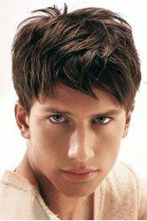 Masculine Short Fluffy Natural Straight Capless High Temperature Fiber Side Bang Wig For Men - BLACK