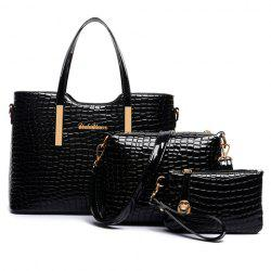 Stylish Patent Leather  and Crocodile Print Design Women's Tote Bag - BLACK
