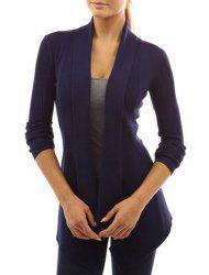 Chic Turn-Down Neck Long Sleeve Pure Color Women's Cardigan