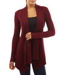 Chic Turn-Down Neck Long Sleeve Pure Color Women's Cardigan - WINE RED