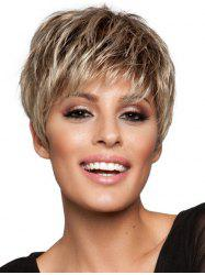 Sparkle Blonde Mixed Brown Capless Spiffy Short Side Bang Synthetic Wig For Women -